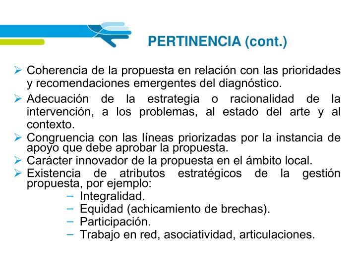 PERTINENCIA (cont.)