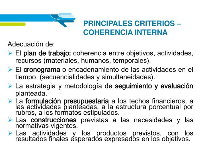 PRINCIPALES CRITERIOS – COHERENCIA INTERNA