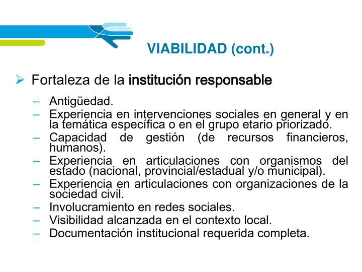 VIABILIDAD (cont.)