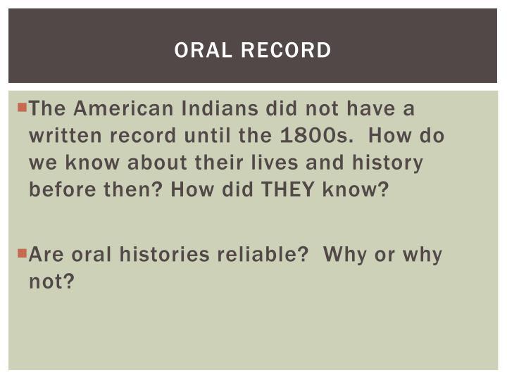 Oral record