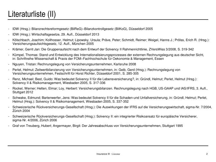 Literaturliste (II)