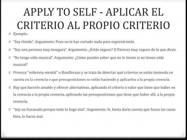 APPLY TO SELF -