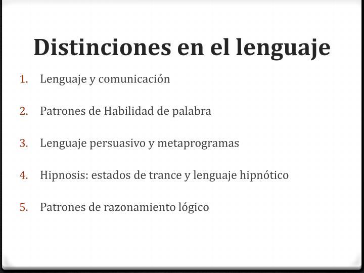 Distinciones en el lenguaje