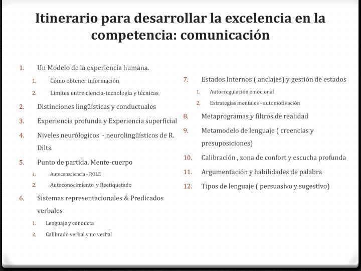 Itinerario para desarrollar la excelencia en la competencia: comunicación