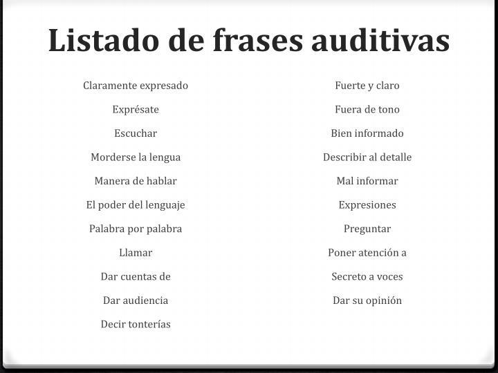 Listado de frases auditivas