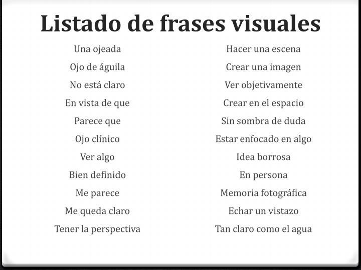 Listado de frases visuales
