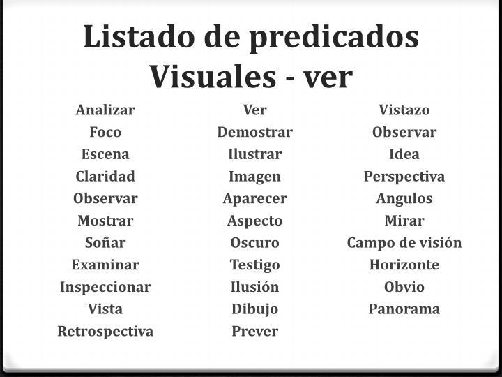 Listado de predicados Visuales - ver