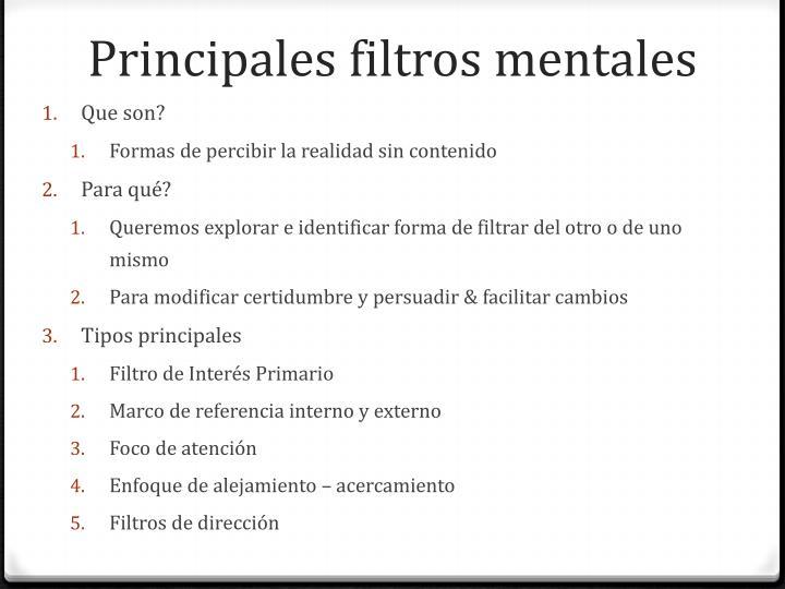 Principales filtros mentales
