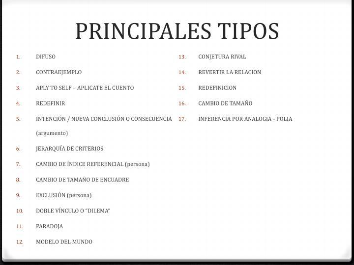 PRINCIPALES TIPOS