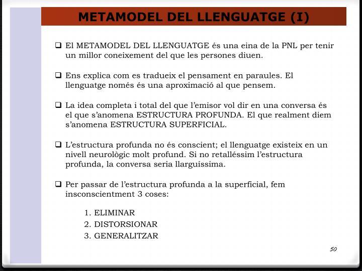 METAMODEL DEL LLENGUATGE (I)