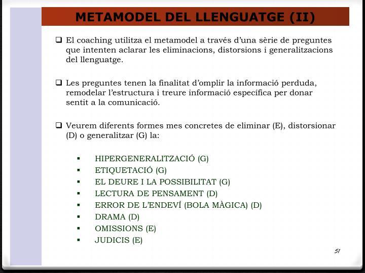 METAMODEL DEL LLENGUATGE (II)