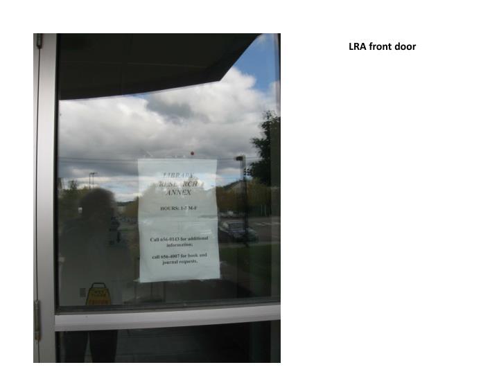 LRA front door