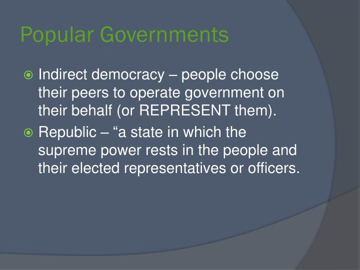 Popular Governments