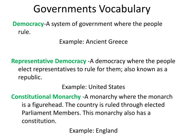 Governments Vocabulary
