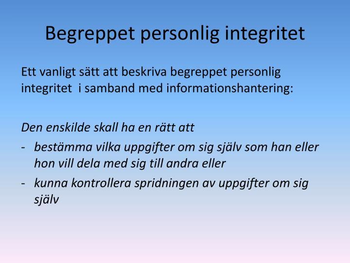 Begreppet personlig integritet
