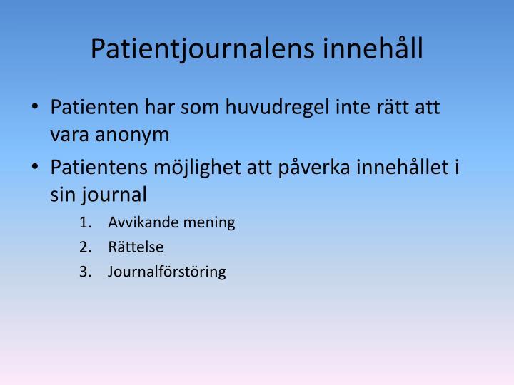 Patientjournalens innehåll
