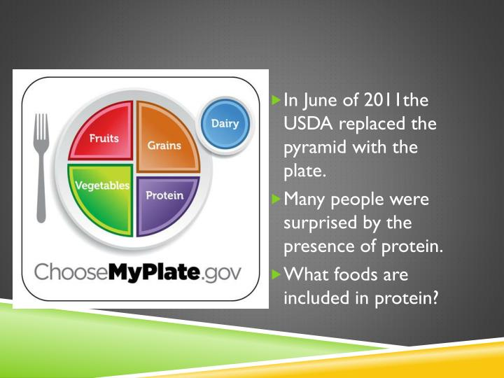 In June of 2011the USDA replaced the pyramid with the plate.