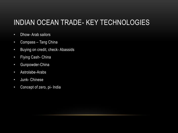 Indian Ocean Trade- Key technologies