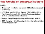 the nature of european society