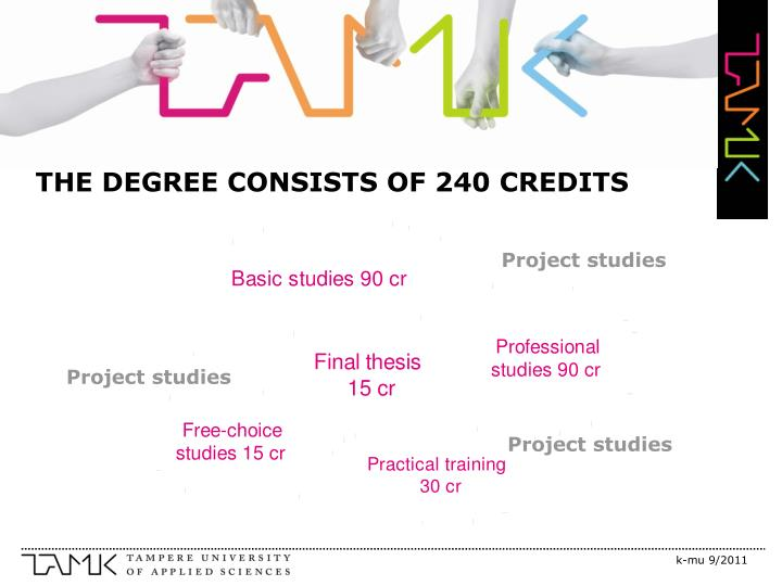 THE DEGREE CONSISTS OF 240 CREDITS