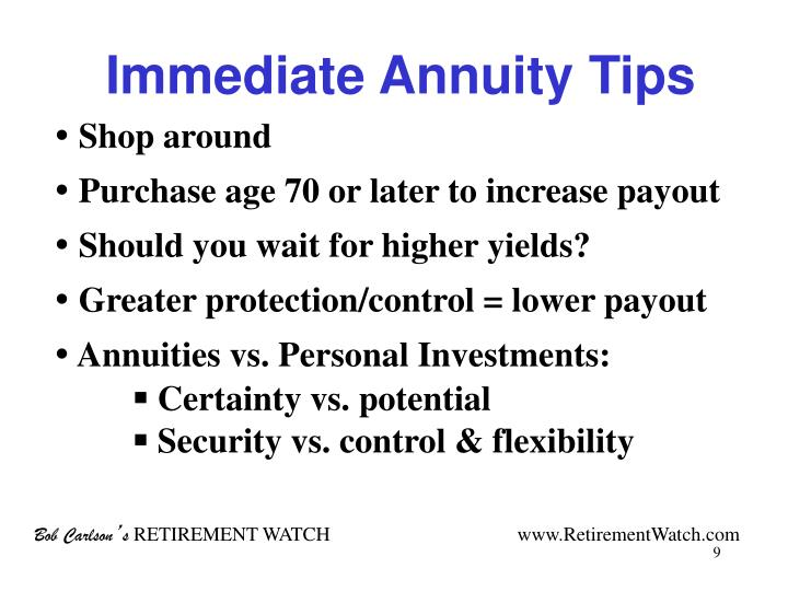Immediate Annuity Tips
