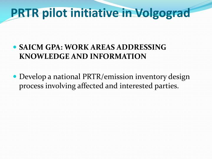 PRTR pilot initiative in Volgograd