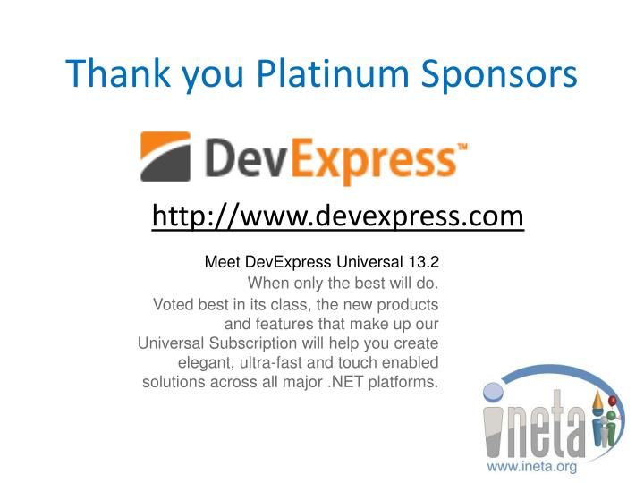 Thank you platinum sponsors