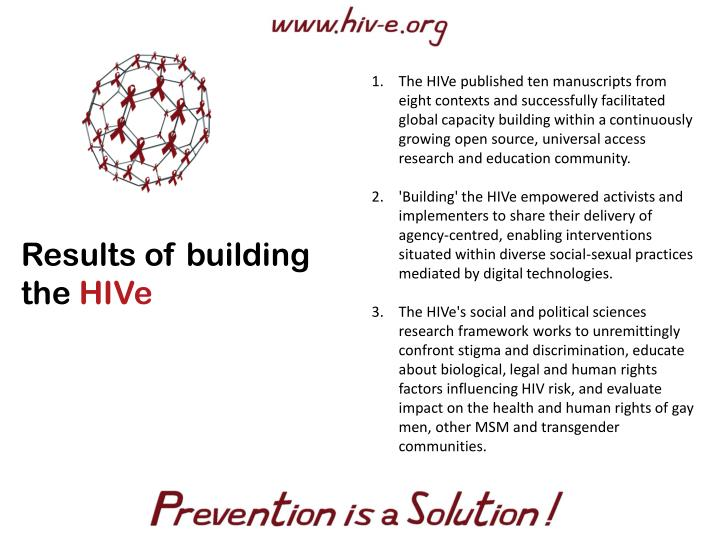 The HIVe published ten manuscripts from eight contexts and successfully facilitated global capacity building within a continuously growing open source, universal access research and education community.