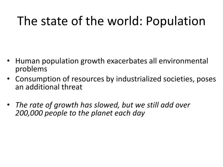 The state of the world: Population