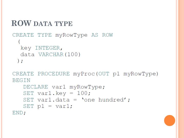 ROW data type