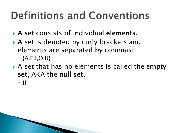 Definitions and Conventions