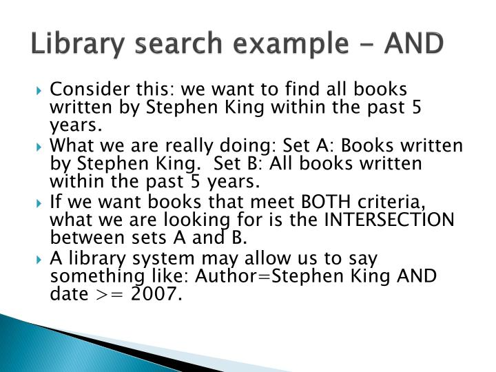 Library search example - AND