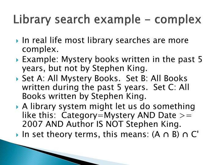 Library search example - complex