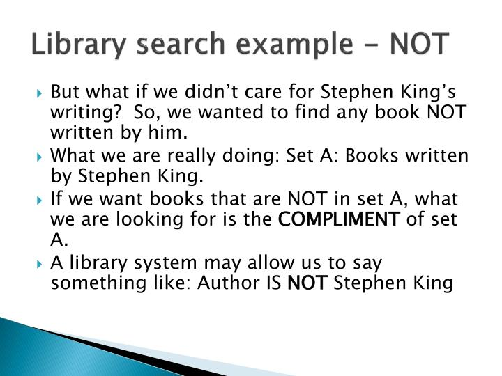 Library search example - NOT