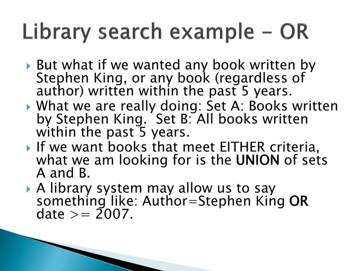 Library search example - OR