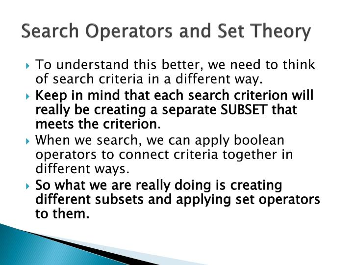 Search Operators and Set Theory