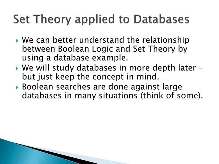 Set Theory applied to Databases