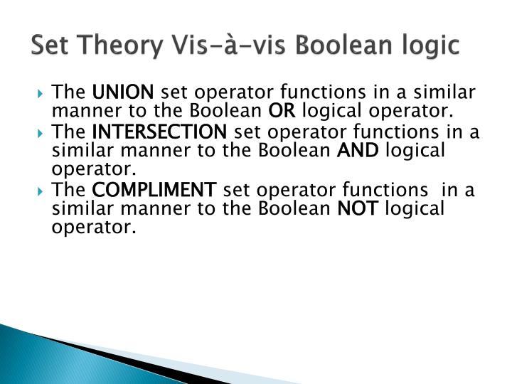 Set Theory Vis-à-vis Boolean logic