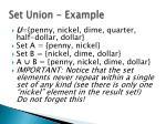 set union example
