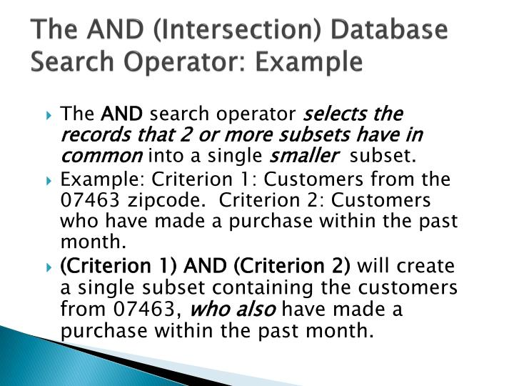 The AND (Intersection) Database Search Operator: Example