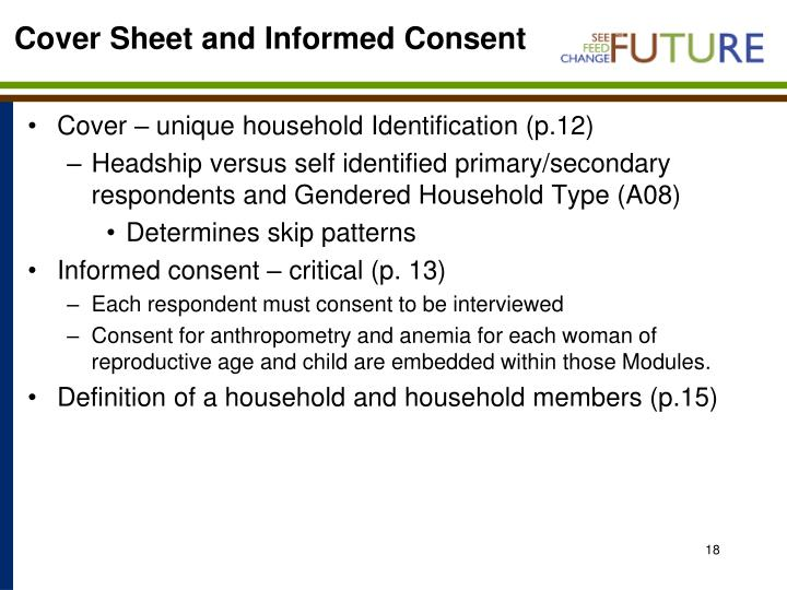Cover Sheet and Informed Consent