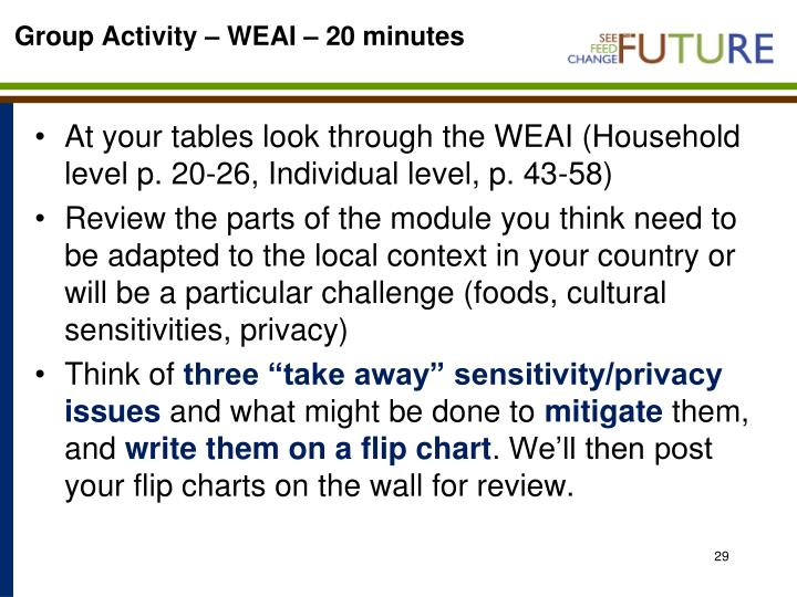 Group Activity – WEAI – 20 minutes