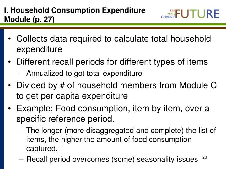 I. Household Consumption Expenditure Module (p. 27)