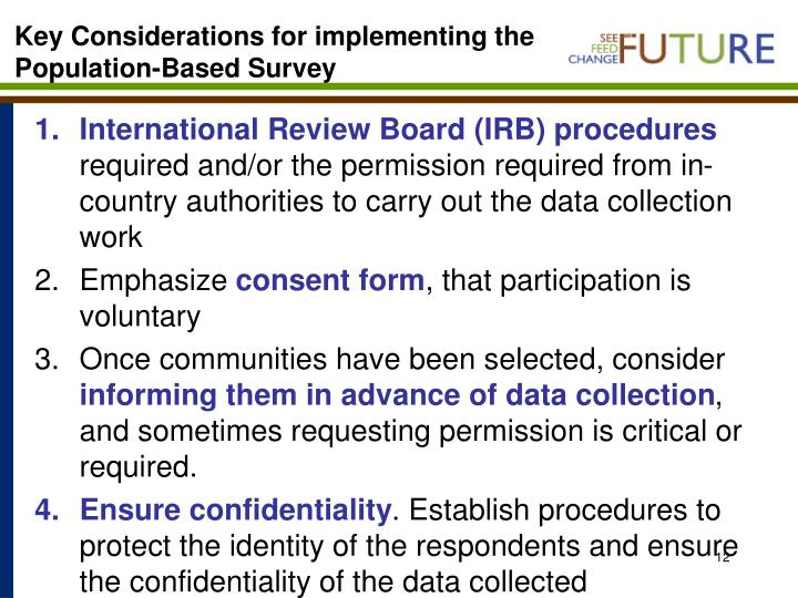 Key Considerations for implementing the Population-Based Survey