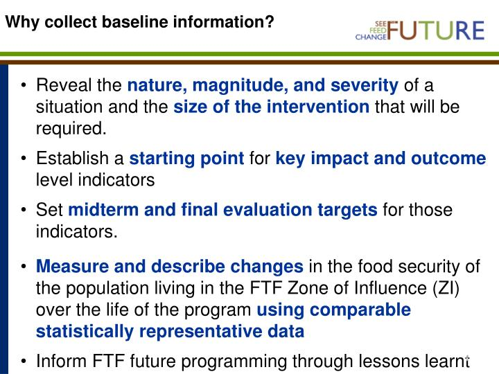 Why collect baseline information?