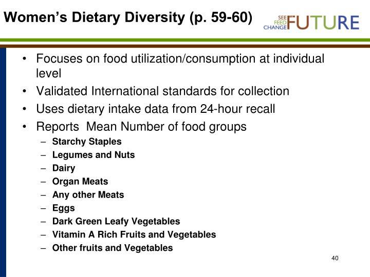 Women's Dietary Diversity (p. 59-60)
