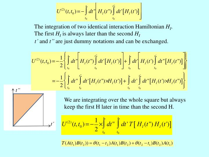 The integration of two identical interaction Hamiltonian