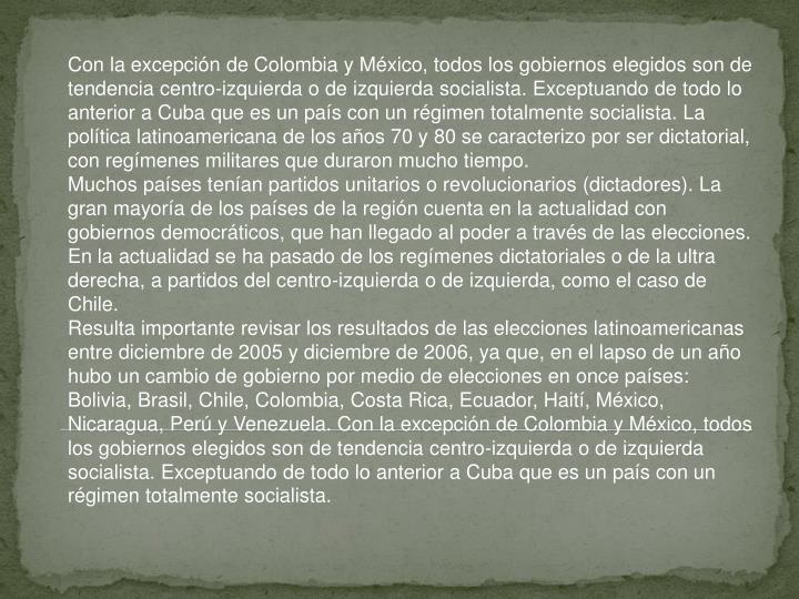 Con la excepción de Colombia y México, todos los gobiernos elegidos son de tendencia centro-izquierda o de izquierda socialista. Exceptuando de todo lo anterior a Cuba que es un país con un