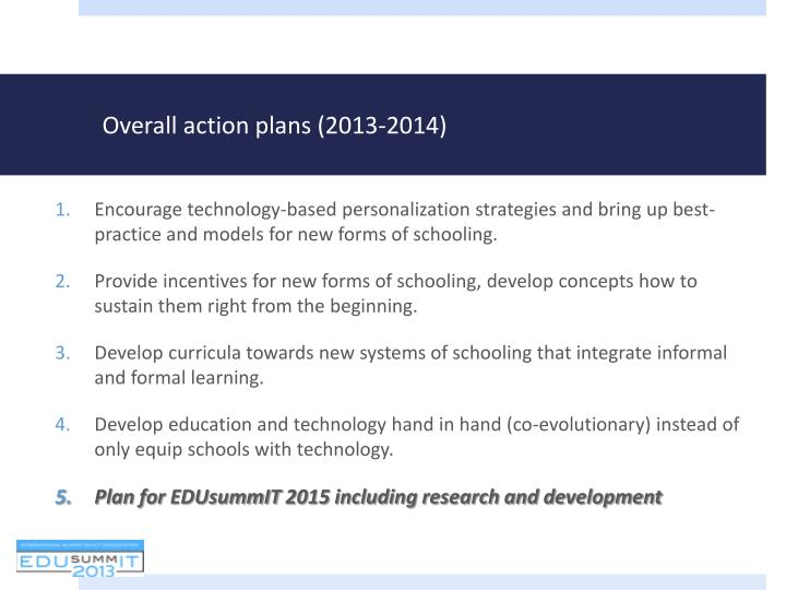 Overall action plans (2013-2014)