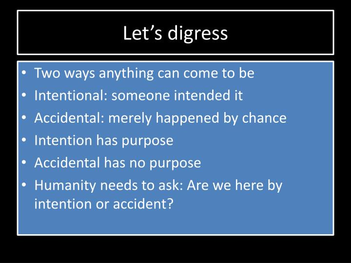 Let's digress